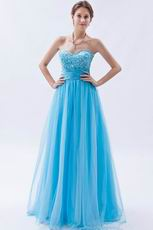 Modest Sweetheart Deep Sky Blue Evening Dress 2014