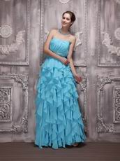 Aqua Chiffon Cascade Floor Length Skirt Dress Evening