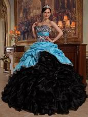 Aqua Blue And Black Cascade Skirt Dress to Quinceanera Party