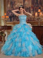 Aqua And White Interphase Ruffles Dama Quinceanera Dress