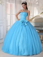 Young Girls Wear Aqua Quinceanera Dress With Bowknot Design