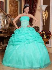 Aqua Floor Length Puffy Skirt Designer Quinceanera Dress
