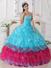 Aqua Blue and Deep Pink Cascade Skirt Quinceanera Dress