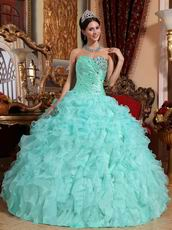 Light Sky Blue Sweetheart Ruffle Skirt Prom Ball Gown