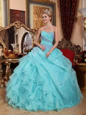 Ruffle Skirt Sweetheart Quinceanera Gown Dress Aqua Blue