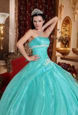 Floor Length Cheap Ball Dresses By Turquoise Organza