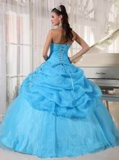 Floor Length Designer Aqua Blue Girls Quinceanera Party Dress