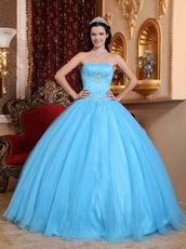Strapless Aqua Blue Quinceanera Themes Dress Under 200 Dollars