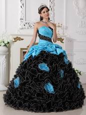 Aqua Taffeta Ruffled Black Skirt Cheap Quinceanera Dress