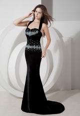 Black Mermaid Halter Pageant Formal Evening Dress Cheap