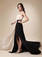 Front Split Skirt With Drapping V-neck Prom Dress