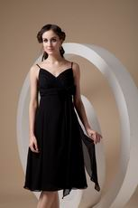 Spaghetti Straps Black Dress Woman Homecoming Dress