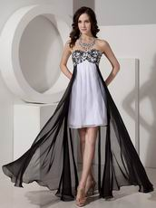 Black And White Short Front Long Back Skirt Prom Dress