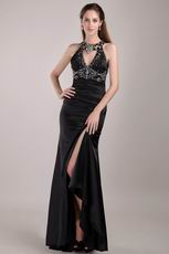 Black Column Rhinestones Backless Prom Dress With Side Split