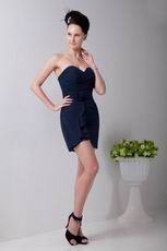 Simple Navy Blue Chiffon Short Bridesmaid Dress Under 100