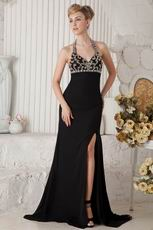 Cheap Halter Split Embellish Black Chiffon Evening Dress