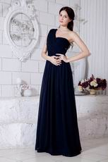 Affordable One Shoulder Navy Blue Chiffon La Femme Prom Dress