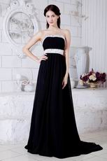 2013 Fashion Strapless A-line Black Chiffon Dress To Evening