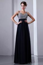 Beaded Spaghetti Straps Upper Party Navy Blue Evening Dress