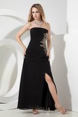 Black Evening Dress With Floor Length Side Splite Skirt