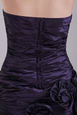Dark Purple Graduation Dress With Handmade Flowers Skirt