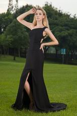 Column One Shoulder Black Prom Dress With High Split