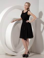 Scoop Black Chiffon Short Dress To Bridal Mother Wear