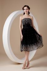 Strapless Tea-length Flaring Black Organza Short Prom Dress