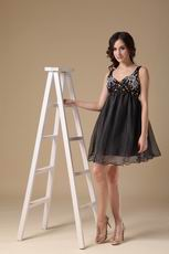 Beaded Straps Black Organza Short Prom Dress For Maternity Women