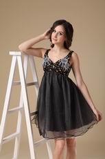 Beaded Straps Black Organza Short Prom Dress For Maternity Women
