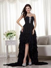 Black High-low Skirt Prom Dress Wear To 2014 Prom Cheap Sale