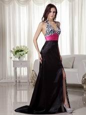 Black and White Printed Zebra Prom Dress With Fuchsia Sash