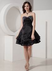 Discount Beaded Cascade A-line Black Skirt Short La Prom Dress