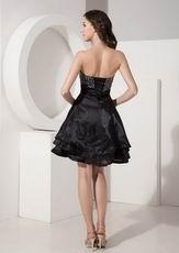 Discount Beaded Cascade A-line Black Skirt Short La Prom Dress