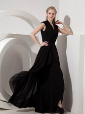 V Neck Cheap Black Chiffon Dress For Mother Of The Bride