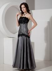 Strapless Dimgray Mother Of The Bride Dress With Black Lace