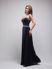 Sweetheart Beaded Column Black Chiffon Designer Prom Dresses