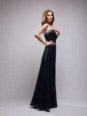 Sweetheart Beaded Column Black Chiffon Designer Prom Dresses