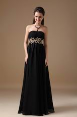 Best Black Chiffon Long Bridesmaid Dress For Juniors Wear