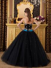Cheap Black Tulle Skirt Dress For Girls Quinceanra Party