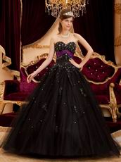 Black Tulle Appliqued Quinceanera Dress With Purple Emberllish