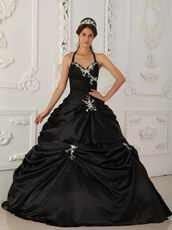 Black Halter Ball Skirt Quinceanera Young Women Wear