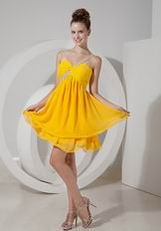 2014 One Shoulder Yellow Chiffon Short Bridesmaid Dress