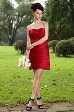 Sweetheart Wine Red Junior Short Wedding Bridesmaid Dress