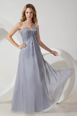 V Shaped Strapless Sivler Gray Chiffon Bridesmaid Dress