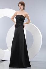 Modest Strapless A-line Skirt Black Girl Bridesmaid Dress