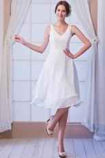White Chiffon Girls Prefer V-Neck Bridesmaid Dress