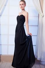 Affordable Black Long Chiffon Wedding Bridesmaid Dress