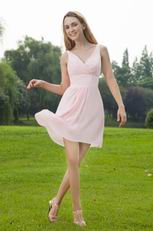 V-neck Pink Chiffon Girl Bridesmaid Dress For 2014 Wedding