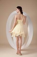 Daffodil Chiffon One Shoulder Neck Bridesmaid Dress